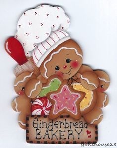 Looking for cute decorations for your kitchen? This gingerbread man wood magnet is handcrafted and highly detailed. It is a nostalgic type of design with 2 gingers in an envelope, with rolling pins and spoons behind them. Gingerbread Ornaments, Gingerbread Decorations, Christmas Gingerbread, Noel Christmas, Christmas Clipart, Christmas Printables, Wood Ornaments, Christmas Candy, Christmas Ornaments