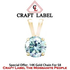 """1.00 Ct Belgium Intense Light Blue Fire Hot Vvs1 4 Prongs Solitaire Pendant Without Chain In 14K Yellow Gold """"Mother\'s Day Gift"""". Starting at $1"""