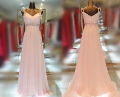 Custom Made Elegant A-line  Floor Length V-neck Beads Strap Pink Prom Dress,Evening Dress,Formal Gown With Beads. $199.00, via Etsy. @Ramiro Croce Garcia C. Simon