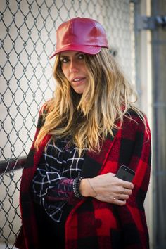 Playing it cool is easy when you add a baseball cap in leather. Street Style Accessories at New York Fashion Week #NYFW