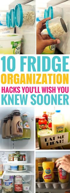 These 10 Fridge Organization Ideas are BRILLIANT! I can't wait to try all of them out. Great DIY kitchen hacks to make sure your fridge stays clean and organized.