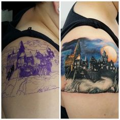 The start of my Harry Potter sleeve!! I love it!! Tattoo done by Marc skiles @ 13 shades tattoo!!   #hogwarts #harrypotter #hp #tattoo #sleeve #epictattoo