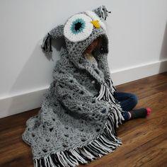 Owl hood blanket crochet pattern