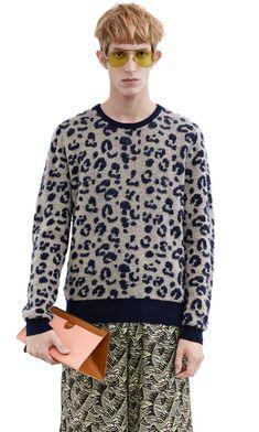 Acne Studios Jena leopard jacquard sweater in hand pilled cashmere yarn #AcneStudios #menswear #SS16