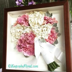 """Beautiful preserved bouquet in a custom shadowbox! Did you get married this weekend? It's not too late!! Check out our website www.KeepsakeFloral.com under the tab """"Event already Happened"""". #Keepsake Floral"""