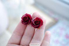 Dark red earrings Dangle roses earrings Marsala jewelry