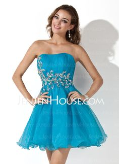 US  116.99  A-Line Princess Sweetheart Short Mini Organza Homecoming Dress  With Ruffle Sequins - JenJenHouse. Find cheap prom dresses ... d24a6648f