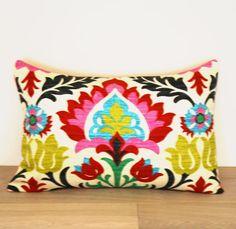 Multicolor. Throw Pillow. Accent Pillow. Lumbar Pillow. Pattern. Pink. 12 x 18.