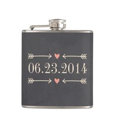 Vintage Chalkboard Style Wedding Day Design Hip Flask