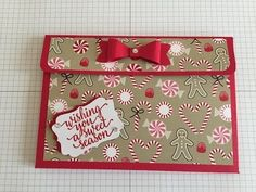 Flip pocket card and tag holder with Stampin' Up! Candy cane lane - YouTube
