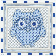 Blue Owl Blank Note Card by TinkerTangles on Etsy