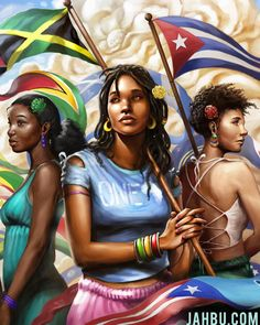 """""""NEW ART"""" Sisters of the Sun - Born from the Sun. These woman stand strong in unity, honoring the many countries with the Atlantic. Black Love Art, Black Girl Art, Black Is Beautiful, Black Girl Magic, Black Art Painting, Black Artwork, Puerto Rico, African American Artwork, Caribbean Art"""