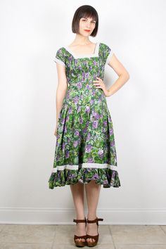 Vintage 50s Dress Midi Dress 1950s Dress Day by ShopTwitchVintage