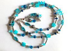 lange Halskette in türkis mit Anhänger von Kreativ-Werkstatt-Heidi-H. auf DaWanda.com