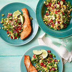 Salmon with Corn and Avocado Succotash #myplate #protein #vegetables #fruit