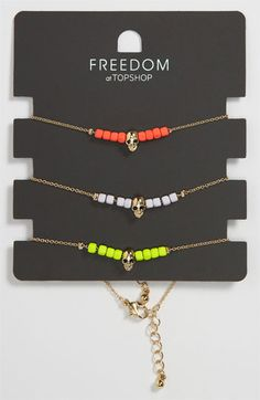 Topshop Neon Skull Bracelets (Set of 3) available at #Nordstrom LOVE