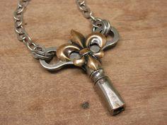 Skeleton Key Jewelry  Upcycled Winder Key Necklace by thekeyofa