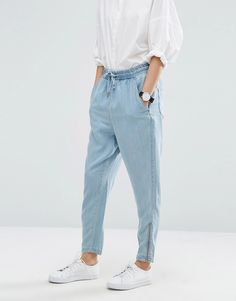 Buy it now. ASOS WHITE Denim Tencel Zip Joggers - Blue. Joggers by ASOS WHITE, Tencel denim fabric, Light blue wash, Drawstring waistband, Side and back pockets, Zip cuffs, Regular fit - true to size, Machine wash, 100% Tencel Lyocell, Our model wears a UK 8/EU 36/US 4 and is 175cm/5'9 tall. ABOUT ASOS WHITE This season sees ASOS WHITE rummaging through the art-room paintbox for its colour-block grid prints and limited-edition collection. While silhouettes are kept simple, tailored separates…