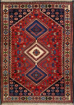 """Yalameh Persian Rug 3' 6"""" x 4' 10"""", Authentic Yalameh Handmade Rug"""