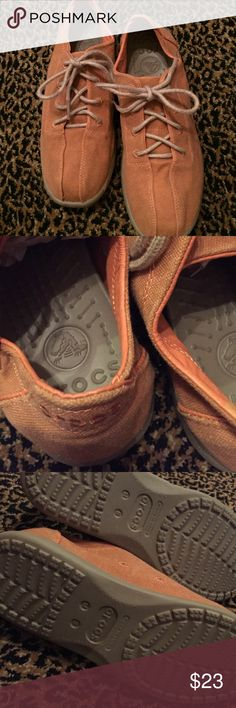 Croc shoes like new Burnt orange and tan super comfortable worn one time crocs Shoes Athletic Shoes