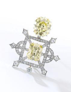 Fancy intense yellow diamond brooch | lot | Sotheby's