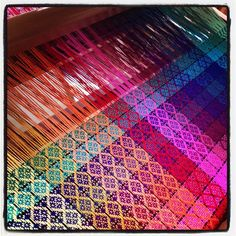 My mom's #rainbow #weaving in progress. Check out her FB page: Woven Rainbows.