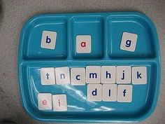 This would be great for those kinesthetic learners as well as other students.  You could get a tray, plate, etc. with different compartments and each compartment represents one sound.  This can be used for single letters, dipthongs, blends, etc.