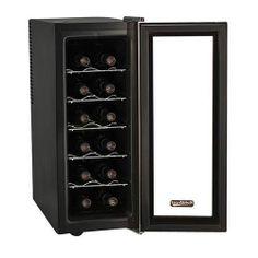 Vibration Free Cellar Fridge 12 Bottle Slim Stainless Steel Black Wine Cooler