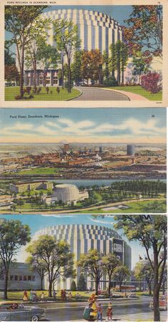Set of 3 postcards FORD ROTUNDA Plant Dearborn  Michigan AUTO Showplace Detroit - SOLD