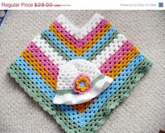 CIJ SALE Colorful Striped Poncho & Hat Set by ACCrochet on Etsy, $21.00