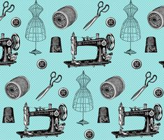 Vintage Sewing Aqua fabric by 13moons_design on Spoonflower - custom fabric