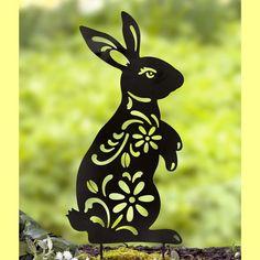 Rabbit Silhouette, Animal Silhouette, Black Silhouette, Shadow Silhouette, Metal Yard Art, Metal Art, Yard Ornaments, Arte Country, Humming Bird Feeders