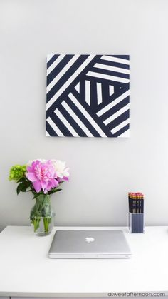 DIY Modern Black And White Abstract Art | Shelterness