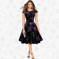 Retro A-Line Roses Print Short-Sleeved Dress