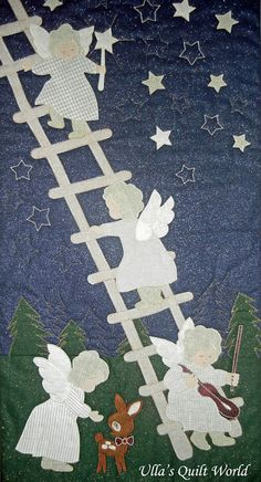 Ulla's Quilt World: Angel quilt wall hanging - Angels on the stairs