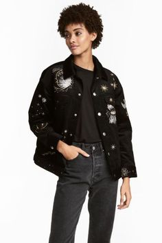 Fully lined corduroy jacket - Black/Embroidery - Ladies | H&M