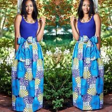 Blue 2Pcs African Digital Print Beach Long Fluffy Dress Dashiki Boho Maxi Skirt