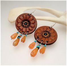 E1239 flower leather earrings