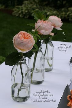 peonies and sprigs of mint- party ideas