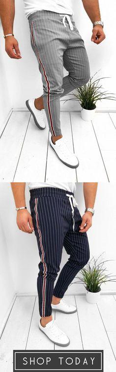 Casual Drawstring Striped Slim Pants - Men's Pants - Best Of Women Outfits Mens Fashion Wear, Fashion Outfits, Casual Wear, Casual Outfits, Casual Pants, Men Looks, Mode Man, Slim Pants, Gentleman Style