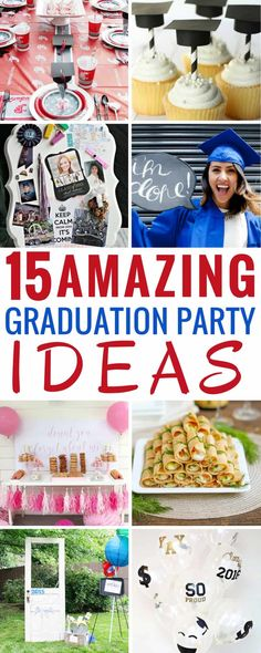 These 15 graduation party ideas are THE BEST! I'm so glad I found these AMAZING tips! Now ways to plan, organize, and decorate the next great party! These are going to make planning so much easier. Pin this for later! Graduation Party Planning, Graduation Party Foods, College Graduation Parties, Graduation Celebration, Graduation Invitations, Grad Parties, Graduation Gifts, Graduation Ideas, Candy Buffet