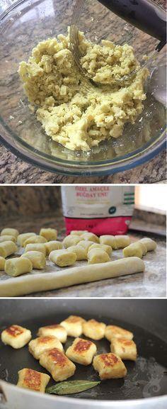 Nhoque grelhado de batata doce com manteiga e sálvia: duas xícaras de batata doce amassada, 1 ovo, 2 colheres (sopa) farinha de trigo e sal.
