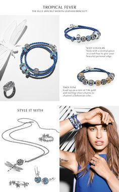 Need tips for how to style the new vibrant azure blue woven leather bracelet? Check out PANDORA Magazine. #PANDORAstyle