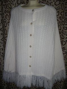 Vintage Hand Knitted BOHO Shawl Cape Poncho Lite Ivory Button Front Fringe S M L #Handmade