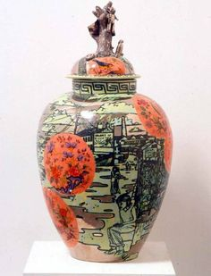 "Grayson Perry  Perry's vases have classical forms and are decorated in bright colours, depicting subjects at odds with their attractive appearance. There is a strong autobiographical element in his work, in which images of Perry as ""Claire"", his female alter-ego, often appear. He was awarded the Turner Prize in 2003."