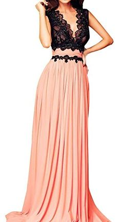 Roswear Sleeveless Deep-V Neck Lace Bodice Contrast Maxi Evening Dress *** Be sure to check out this awesome item.