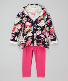 Look what I found on #zulily! Pink Floral Hoodie & Leggings - Infant, Toddler & Girls #zulilyfinds