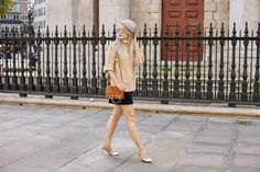 LFW Style: Caramel Knit and Navy Button Down - Inthefrow
