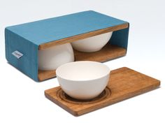 Items similar to Entre Double Bowl & Platter Set by Simple Vision on Etsy Clever Packaging, Gift Packaging, Cute Presents, Glass Vessel, Brown Wood, Handmade Home Decor, Food Gifts, Design Crafts, Bowl Set