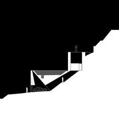 Wespi & de Meuron. Stone House KÜ in Brione sopra Minusio, Ticino, Switzerland. 2003-2005. Section